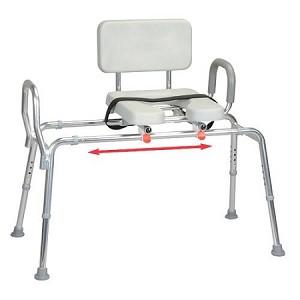 Padded Sliding Transfer Bench With Cut Out At Indemedical Com