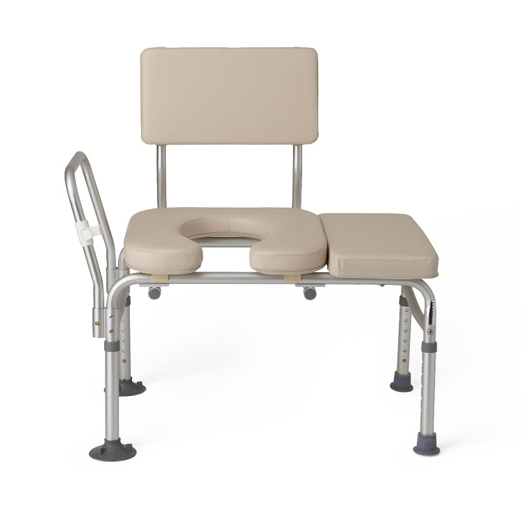 Guardian Padded Transfer Bench With Commode Opening G98013a At Indemedical Com