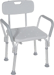 Drive Shower Chair with Back and Padded Arms - Case of 2