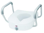 Carex E-Z Lock Raised Toilet Seat W/ Adjustable Armrests