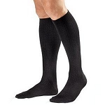 Men's Knee-High Ribbed Compression Sock, Closed Toe, Black