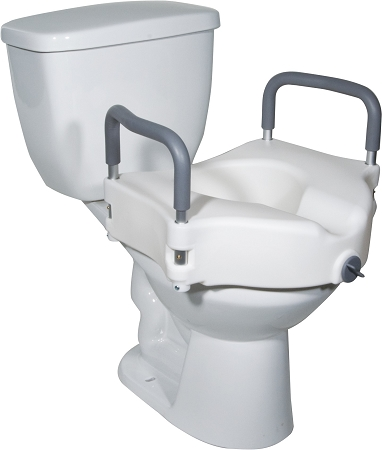 2-in-1 Locking Raised Toilet Seat with Removable Arms