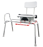 Eagle Sliding Transfer Bench with Replaceable Cut Out Swivel Seat