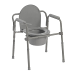 McKesson Folding Steel Frame Commode with 7.5 QT Bucket