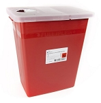 McKesson Prevent Biohazard Infectious Waste Sharps Container, 8 Gallon Red
