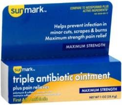 Sunmark Triple Antibiotic Ointment w/ Pain Reliver - 1 oz. Tube