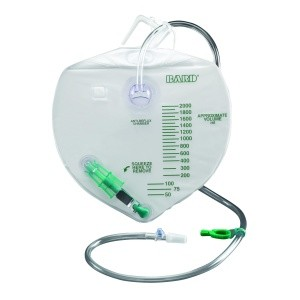 "Bard Drainage Bag with Anti-Reflux Device and 3/16"" Tubing - 2,000 mL"