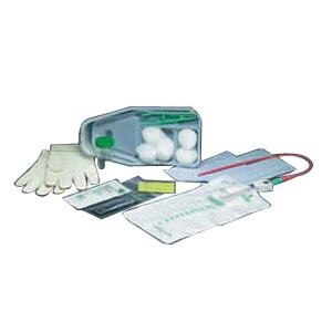 Bard Slim-Line Paperboard Intermittent Catheter Tray - 15 Fr. Red Rubber w/ Collection Bag