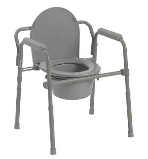 McKesson Folding Steel Frame Commode with 8 QT Bucket - Case of 4