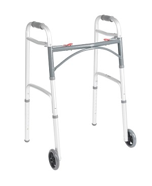 "McKesson Adult Aluminum Folding Walker with 5"" Wheels"