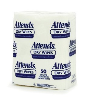Attends Disposable Dry Wipes - 10 x 13