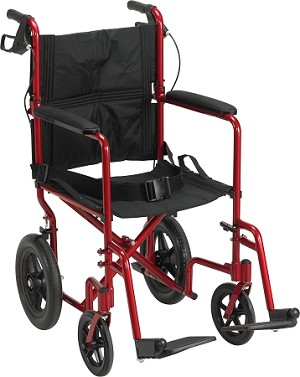"Aluminum Transport Chair w/ 12"" Rear Flat-Free Wheels"