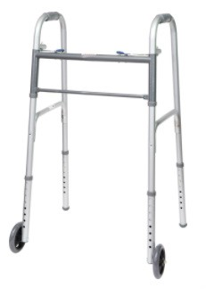 "Two-Button Folding Adult Walker with 5"" Wheels"