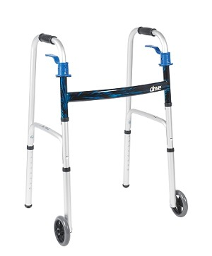 "Drive Deluxe Trigger Release Folding Walker with 5"" Wheels"