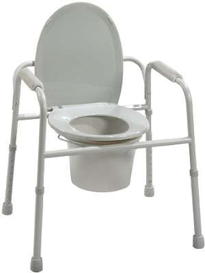 Deluxe All-In-One Welded Steel Commode