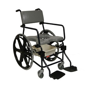 "ActiveAid JTG F624 Folding Shower Commode Chair With 24"" Rear Wheels"