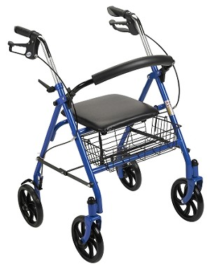 "Durable 4 Wheel Rollator with 7.5"" Casters"