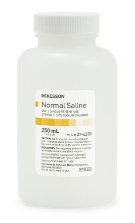 McKesson USP Normal Saline - 250 mL Bottle