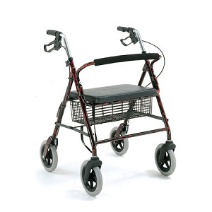 Merits Heavy-Duty 4-Wheeled Aluminum Rollator w/ Loop Brake